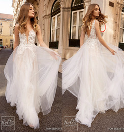 Sparkling Tulle Wedding Dress Australia - Sparkle Beach Berta Wedding Dresses A Line Deep V Neck Backless Sweep Train Tulle Appliques Lace Wedding Dress Garden Country Bridal Gowns