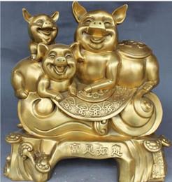 $enCountryForm.capitalKeyWord Australia - NEW+Folk Chinese Feng Shui Wealth Money Year Zodiac Year Three Pig Statue