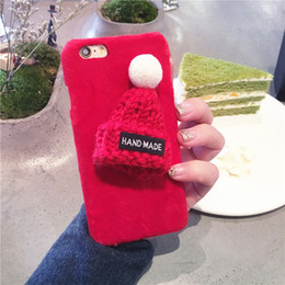 Cute plush iphone Cases online shopping - Mytoto Cute Cases For iPhone s X Plus XR XS MAX candy fuzzy Lovely Plush Hat Warm Fur Ball Knitted Christmas Cap Phone cover