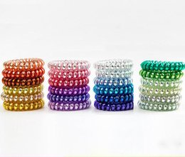 Wholesale 25pcs colors cm High Quality Telephone Wire Cord Gum Hair Tie Girls Elastic Hair Band Ring Rope Metal Bracelet Stretchy Scrunchy