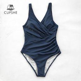 f9c49cc1b7 Cupshe Navy Solid One-piece Swimsuit Women V-neck Shirring Scoop U Back  Plain Monokini 2019 Beach Bathing Suit Swimwear Y19052101