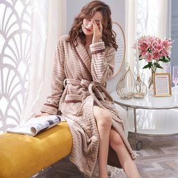 Discount dress buy - 2019 New Female Bathrobe Warm Winter Flannel Robe Women Lapel Stripe Pocket Thick Home Wear Dressing Gown Buy China Dire