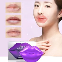 lip moisture Australia - 1Box Purple Lip Mask Skin Care Crystal Collagen 60g 20pcs Nutrious Lip Care Moisture Smoothing Dryness for Lips Pad Gel