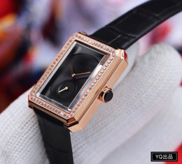 gold watch Women luxury designer rectangle Stainless steel Leather diamond quartz Watches nice gift for Ladies Montre Femme female clock on Sale
