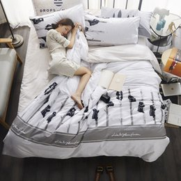 $enCountryForm.capitalKeyWord NZ - 3  4pcs Bedding cotton Set white and black duvet cover set European style 100% Cotton set stripe bedding brief freshness linens