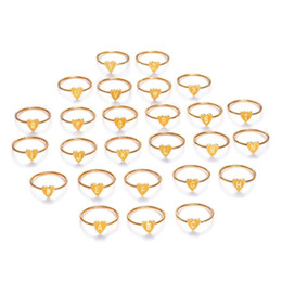 $enCountryForm.capitalKeyWord Australia - Fashion Silver Gold Color Heart Letters Rings for Womens Girls DIY Name Ring Set Female Statement Engagement Party Jewelry