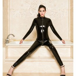 $enCountryForm.capitalKeyWord Australia - Zipper Open Crotch Long Sleeve Bodysuit Sexy Black Bodysuits Leather Pvc Catsuit Bodystocking Sexy Hot Erotic One Piece Overalls MX190726