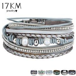 Pearl Bracelet For Men Australia - 17KM Vintage Multiple Layers Leather Bracelets For Women Men New Simulated Pearl Fashion Charms Bracelet Femme Statement Jewelry
