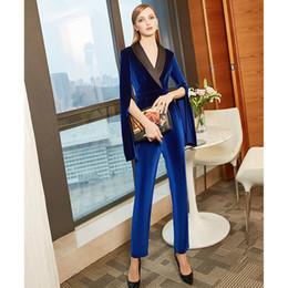 Blue Plus Size Jumpsuit Australia - 2019 simple blue velvet mother's dresses long sleeves v neck jumpsuit mother of the bride dresses custom ankle length plus size prom gowns