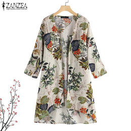 Zanzea 2019 Summer Bohemian Kimono Women Floral Printed 3  4 Hull Shirt Casual Beach Strick Jacket Shirt Elegant Cotton Linen Top Y19071201