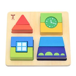 cognitive blocks NZ - Creative Wooden Clock Building Blocks Fight Children's Educational 1-3 Years Old Baby Color Shape Cognitive Toys