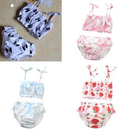 Boys two piece swimwear online shopping - New Infant flowers dog designer baby boy girl kids two pieces Bikini swimwear summer Girl swimsuit Beach Bikini sets fast shipping