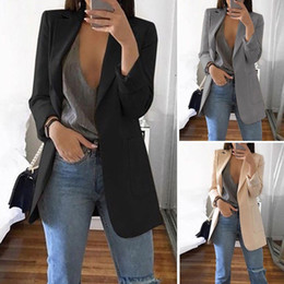 blazers al por mayor-Vintage Blazers Mujer Traje de manga larga Slim Fit Casual Cardigan Blazer Traje Trabajo femenino Office Lady Coat Mujeres Business Outwear
