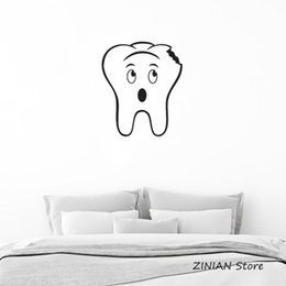 Bathroom Funny Wall Stickers Australia - Large Tooth with Cavity Vinyl Wall Decal Great for Dentist's Office or Bathroom Waterproof Decorative Wall Stickers Funny