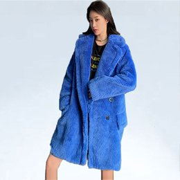 ElEgant fashions long wool coats online shopping - Winter Coat Real Teddy Fur Coats Women Fashion Long Sleeve Fur Jackets Women Elegant Solid Pockets Longer Coats Female Ladies SH190930
