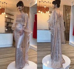 $enCountryForm.capitalKeyWord Australia - New Arabic Bling Bling Mermaid Evening Dresses With Wrap Bateau Backless Formal Prom Party Gowns Celebrity Red Capet Wear robes de soirée