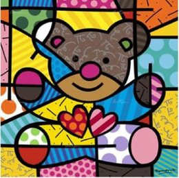 Abstract Oil Prints Australia - Romero Britto Cartoon Abstract Art Lovely Bear,Oil Painting Reproduction High Quality Giclee Print on Canvas Modern Home Art Decor