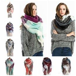 Wholesale Plaid Scarves Girls Shawl Grid Tassel Wraps Lattice Triangle Neck Scarf Fringed Pashmina Winter Neckerchief Blankets HOT LJJA2771