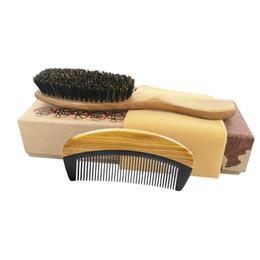 Green Set Brush Australia - Hair Brush & Comb Set Boar Bristle Brush Green Sandalwood Ox Horn Pocket Travel Comb Detangling Curly Hair Dropshipping Wholesale