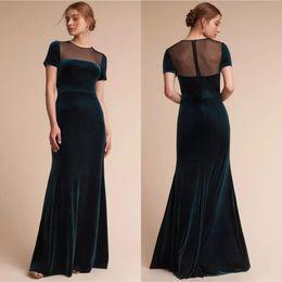 2019 Elegant Dark Green Mermaid Evening Dresses Crew Neck Short Sleeves  Velvet Prom Evening Dress Maid Of Honor Bridesmaid Dress BC0947 a549be010d13