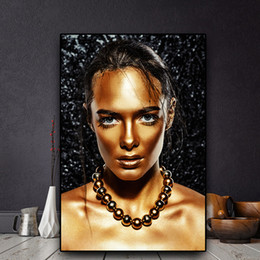 $enCountryForm.capitalKeyWord Australia - 1 Pcs Nude African Art Black Gold Woman Oil Painting on Canvas Cuadros Posters and Prints Scandinavian Wall Picture No Framed