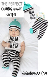 $enCountryForm.capitalKeyWord Australia - baby sets 3 pieces suits baby white short sleeve rompers +pants+hat sets kids clothes