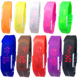 Touch Screen Sport Bracelet NZ - Led Digital Display Touch Screen Watch Unisex Sports Rectangle Candy Rubber Belt Silicone Bracelets Wrist Watches Wristwatch 15 colors hot