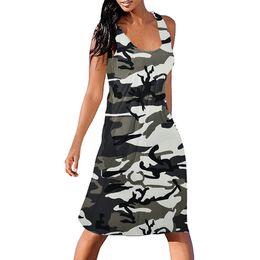 8f028eb068c1f Summer 2019 Midi Dress Women Clothes Women Sexy Beach Dress Camouflage  Sleeveless Streetwear Ladies Vintage Party Dresses