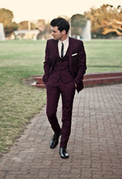 $enCountryForm.capitalKeyWord Australia - 2019 Handsome Burgundy Best Wedding Suits Tuxedos for Groom 5 Pieces(Jacket+trousers+vest+shirt+tie) Business Men Formal Party Wear Suits
