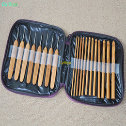wholesale bamboo crochet hooks Australia - by dhl or ems 20pcs in 1 set Bamboo Crochet Hooks Knitting Weave Needles Set with Case Free Shipping