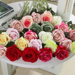 beautiful bouquets 2019 - Single Beautiful Rose Peony Artificial Silk Flowers DIY Bouquet Home Party Spring Wedding Decoration Marriage Fake Flowe