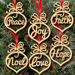 Wood Heart Decoration Australia - Christmas letter wood Heart Bubble pattern Ornament Christmas Tree Decorations Home Festival Ornaments Hanging Gift, 6 pc per bag