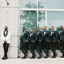 $enCountryForm.capitalKeyWord Australia - White Wool Blend Groom Tuxedo Men Suits for Wedding Black Shawl Lapel Traje Hombre Groomsmen Costume Homme 2Piece(Coat Pants)Terno Masculino