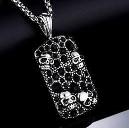 gothic rock cool NZ - 316L Stainless Steel Gothic Skull Army Card Pendant Fashion Men Women Punk Rock Party Necklace Jewelry Cool