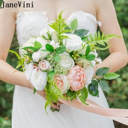 pink ivory bridal bouquets UK - JaneVini Western Wedding Flowers Bridal Bouquets Romantic Ivory Pink Flowers Artificial Silk Roses Bride Wedding Accessories Boeket Bloemen