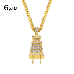 Plug Plate Australia - 2019 New 14K Gold Plated Iced Out Bling Men's Plug Pendant Necklace Plated Charm Full Rhinestone Gold Chain Hip Hop Jewelry