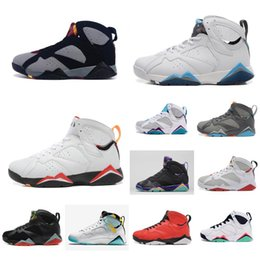 bc37cf46aa29be Cheap new Mens Jumpman 7 VII basketball shoes 7s Bordeaux Red Black French  Blue j7 air flights sneakers boots for sale with original box