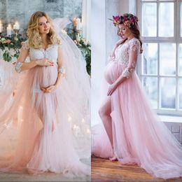 Sweetheart Pregnant Wedding Dress NZ - Pink A Line Maternity Wedding Dresses Pregnant Bridal Gowns Sheer Long Sleeves V-Neck Appliques Split Bridal Gowns Custom
