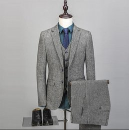 custom tweed suit Australia - New Arrival Men's Vintage Suit Three Pieces (Blazer+Pant +Vest) Tweed Fleck Fabric Two Buttons Wool Gray Custom Made Tuxedos