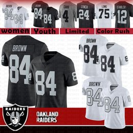 726efe8d4 84 Antonio Brown Oakland Football Jersey Raiders Men 2019 New Color Rush  bLack 4 Derek Carr 24 Marshawn Lynch 12 Stabler 75 Long youth women