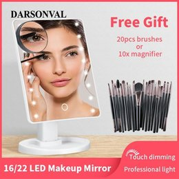 cosmetic tables NZ - LED Makeup Mirror Illuminated Cosmetic Table Mirror With Light for Make Up Adjustable Light 16 22 Touch Screen Eyelash Brush CX200630