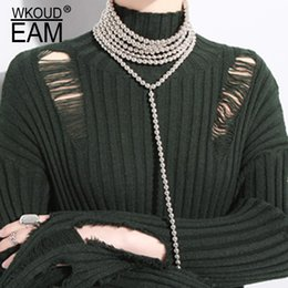Discount matching necklaces - WKOUD EAM 2019 Spring Summer Woman Temperament Stylish New Imitate Pearl Solid Color Spliced Round Loop Necklace All Mat