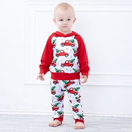 Wholesale Infant Baby Christmas Red Car Print Clothing Set Kids Long Sleeve Hoodie Tops Pants Children Boys Christmas Outfits
