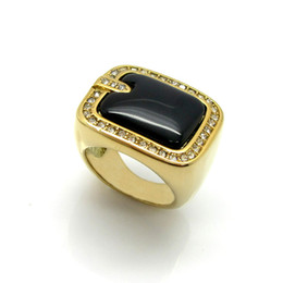 $enCountryForm.capitalKeyWord Australia - 2019 Stainless steel casting brand gold ring is inlaid with semi-precious stone titanium ring Free Shipping