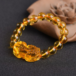 Citrine Crystals Australia - FWSJ001 Citrine pixiu bracelet single circle bracelet natural stone 10-1mm crystal bead male and female couple models jewelry wholesale