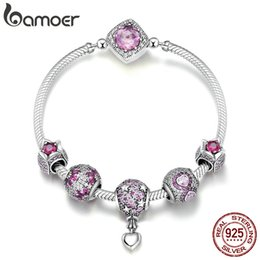 $enCountryForm.capitalKeyWord Australia - BAMOER Authentic 925 Sterling Silver Pink CZ Infinity Flower Hot Air Balloon Bracelets & Bangles for Women Silver Jewelry SCB803