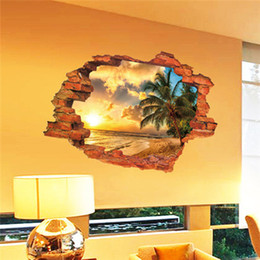 $enCountryForm.capitalKeyWord Australia - Free shipping:3D Broken Wall Sunset Scenery Seascape Island Coconut Trees Household Adornment Can Remove The Wall Stickers