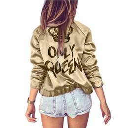 Wholesale long bomber jacket women for sale – winter Autumn Women Bomber jacket Women Coat Crown Queen Print Long Sleeve Zipper Top Coat Biker Casual Short Outwea