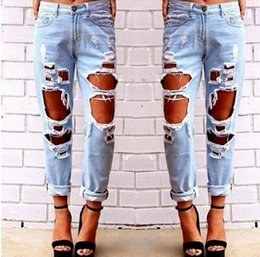 Genuine Loose Pearl NZ - Free shipping 01 fashion loose large size wild sexy exaggerated big hole jeans personality casual pants