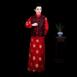 78797135b Male cheongsam Chinese style costume man Mandarin jacket long gown  traditional Chinese Tang suit dress Ethnic Clothing Film TV stage wear